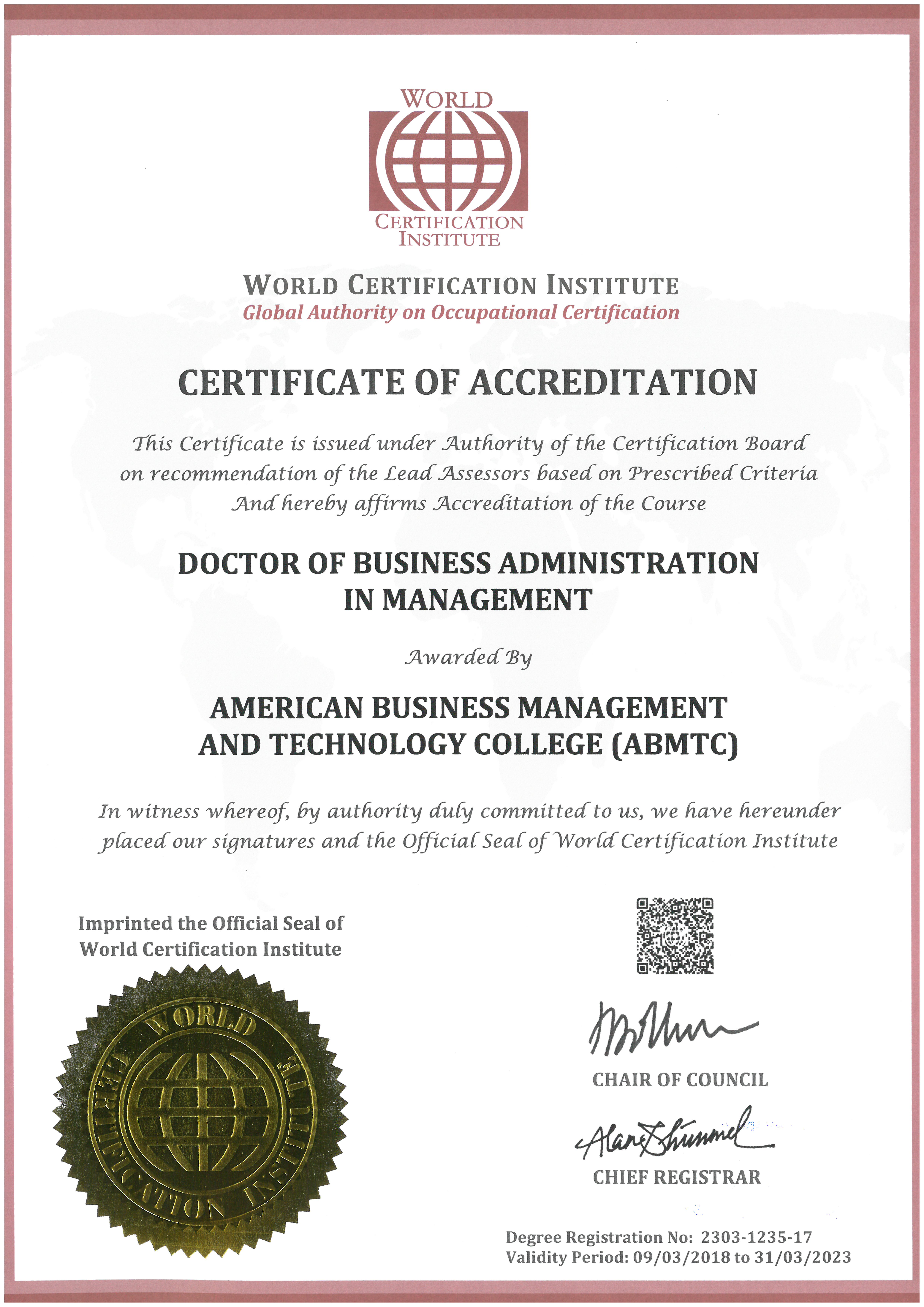 Doctor of business administration coursework